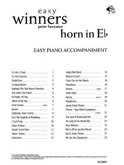 Easy Winners For Horn In E Flat (Piano Accompaniment) Books | Piano Accompaniment