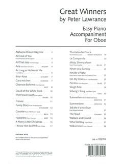 Arr. Peter Lawrance: Great Winners For Oboe - Piano Accompaniment Book Books | Piano Accompaniment