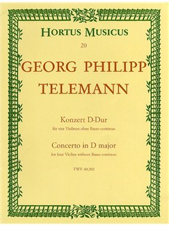 Georg Philipp Telemann: Concerto In D TWV 40:202 For Four Violins Books | 4 Violins