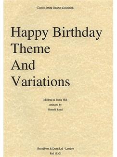 Pattie Hill: Happy Birthday Theme And Variations (String Quartet) - Parts Books | String Quartet