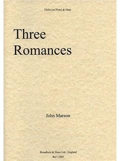 John Marson: Three Romances (Violin And Harp) Books | Violin, Harp