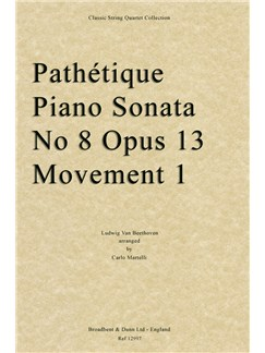 Ludwig Van Beethoven: Pathétique Sonata Op.13 No.8 Movement 1 (String Quartet Parts) Books | String Quartet