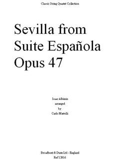 Isaac Albéniz: Sevilla From Suite Española, Op. 47 (Parts) Books | String Quartet
