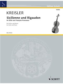 Kreisler: Sicilienne and Rigaudon Books | Violin, Piano