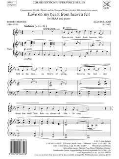 Alan Bullard: Love On My Heart From Heaven Fell (SSAA/Piano) Books | SSAA, Piano Accompaniment