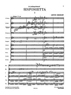 Lennox Berkeley: Sinfonietta For Orchestra Op.34 (Miniature Score) Books | Orchestra
