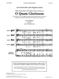 Victoria: O Quam Gloriosum (Washington) Books | Soprano, Alto, Tenor, Bass