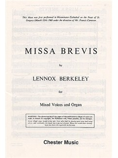 Lennox Berkeley: Missa Brevis Op.57 (Original Latin Version) Bog | SATB, Orgelledsagelse