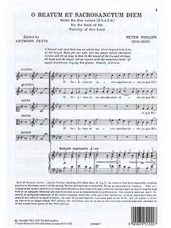 Peter Philips: O Beatum Et Sacrosanctum Diem Bog | SATB