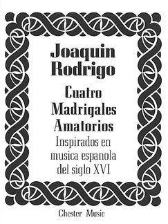 Rodrigo: Cuatro Madrigales Amatorios Medium Voice And Piano Libro | Voz Media, Acompañamiento de Piano, Coral