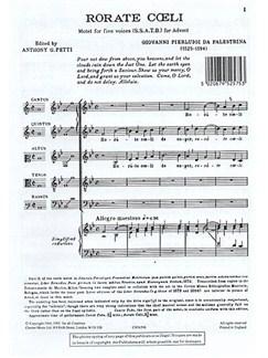 Palestrina: Rorate Coeli SSATB Books | 2 Soprano, Alto, Tenor, Bass