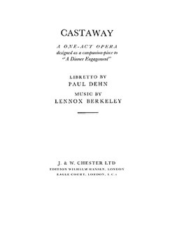 Lennox Berkeley: Castaway Op.68 (Libretto) Books | Opera
