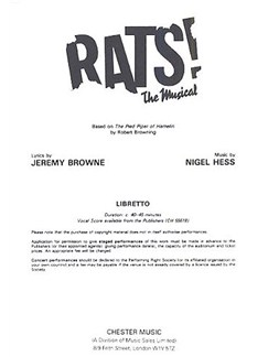 Nigel Hess: Rats! The Musical (Libretto) 1-9 Copies Bog | Stemme, Klaverakkompagnement