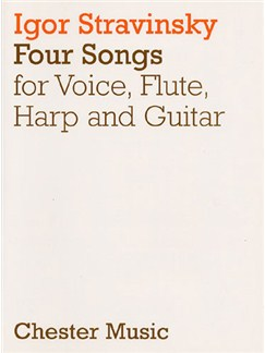 Igor Stravinsky: 4 Songs (Score) Livre | Voix Haute, Flûte Traversière, Guitare, Harpe