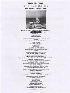 Elvis Costello: The Juliet Letters (String Parts) Books | String Quartet