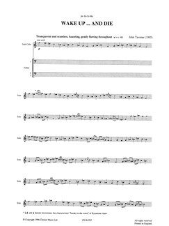 John Tavener: Wake Up And Die (Score and Parts) Buch | Cello