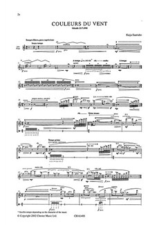 Kaija Saariaho: Couleurs Du Vent For Alto Flute Books | Alto Flute