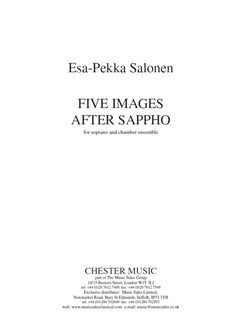 Esa-Pekka Salonen: Five Images After Sappho Books | Soprano, Ensemble