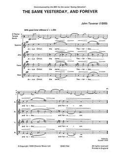 John Tavener: The Same Yesterday, Today And Forever (Score) Buch | SATB (Gemischter Chor), Percussion