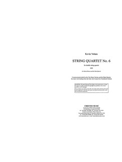Kevin Volans: String Quartet No.6 (Score/Parts) Books and CDs | String Quartet
