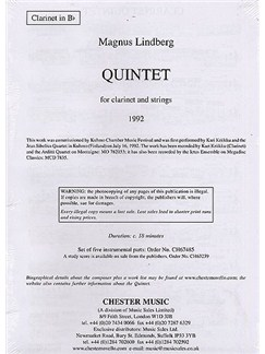 Magnus Lindberg: Quintet For Clarinet And Strings (Parts) Books | Clarinet, String Quartet