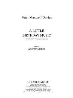 Peter Maxwell Davies: A Little Birthday Music - Full Score Books | Unison Voice, Orchestra