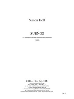 Simon Holt: Sueños Books | Baritone Voice, Ensemble