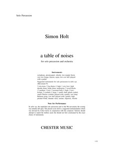 Simon Holt: A Table Of Noises (Percussion Part) Books | Percussion