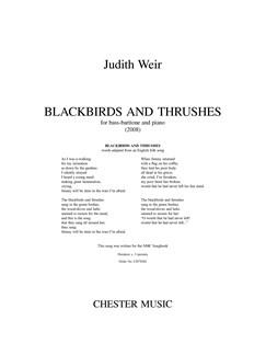 Judith Weir: Blackbirds And Thrushes - Bass-Baritone/Piano Books | Bass-Baritone Voice, Piano Accompaniment