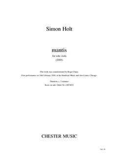 Simon Holt: Mantis (Solo Viola) Books | Viola