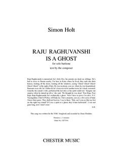 Simon Holt: Raju Raghuvanshi Is A Ghost - Solo Baritone Books | Baritone Voice