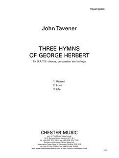 John Tavener: Three Hymns Of George Herbert (Vocal Score) Books | SATB, Piano Accompaniment