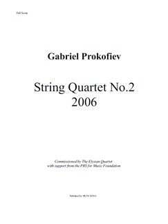 Gabriel Prokofiev: String Quartet No.2 (Score/Parts) Books | String Quartet