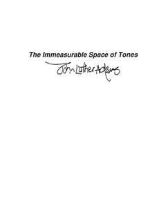 John Luther Adams: The Immeasurable Space Of Tones Books | Violin/Vibraphone/Piano Chamber/Keyboard/Double Bass