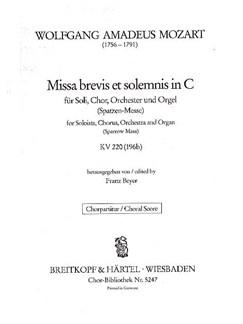 Mozart: Missa Brevis Et Solemnis In C (SATB) Books | SATB