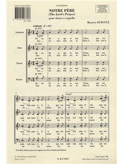 Maurice Durufle: Notre Pere (The Lord's Prayer) Op.14 No.4 (SATB) Books | SATB