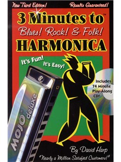 3 Minutes To Blues! Rock! And Folk! Harmonica Books and CDs | Harmonica