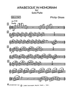 Philip Glass: Arabesque In Memoriam (Solo Flute) Books | Flute