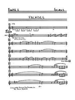 Philip Glass: Facades (Set Of Parts) Libro | Música de Cámara, Flauta, Saxo Soprano, Cuarteto de Cuerda