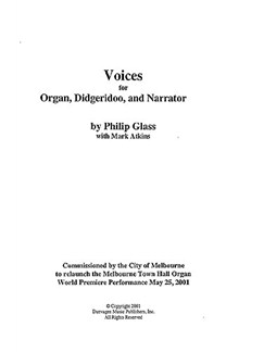 Philip Glass: Voices Books | Organ, 2 Didgeridoos