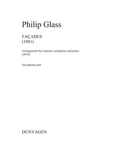 Philip Glass: Facades (Soprano Saxophone/Piano) Books | Soprano Saxophone, Piano Accompaniment