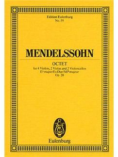 Felix Mendelssohn: Octet In E Flat Op.20 (Eulenburg Miniature Score) Books   Violin, Viola, Cello, String Ensemble