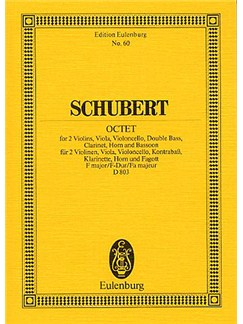 Franz Schubert: Octet In F Op.166 (Eulenburg Miniature Score) Books | 2 Violins, Viola, Cello, Double Bass, Clarinet, Bassoon