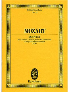 W.A. Mozart: Quintet In A Kv.581 (Eulenburg Miniature Score) Books | Clarinet, String Quartet