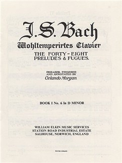 J.S. Bach: Prelude & Fugue No. 6 In D Minor Book 1 Libro | Piano