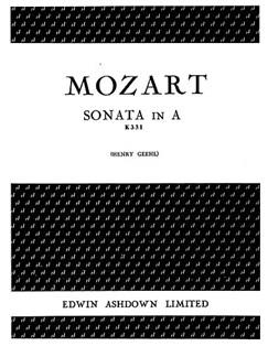 Mozart  Sonata In A K331 (Piano) Books | Piano