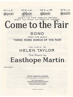 Easthorpe Martin: Come To The Fair (In A) Books | Voice, Piano Accompaniment