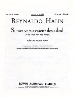 Reynaldo Hahn: If My Songs Were Only Winged (Si Mers Vers Avaient Des Ailes!) Books | Medium Voice, Piano