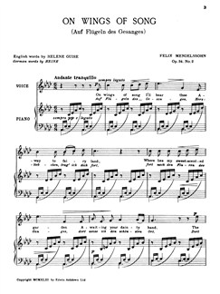 Felix Mendelssohn: On Wings Of Song Op.34 No.2 (In A Flat) Books | Voice, Piano Accompaniment