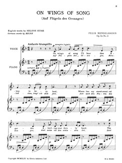 Felix Mendelssohn: On Wings Of Song Op.34 No.2 Voice/Piano (Eng/Ger) In F Books | Voice, Piano Accompaniment